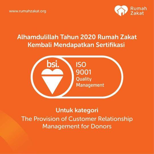 Rumah Zakat kembali mendapatkan sertifikasi ISO 9001:2015