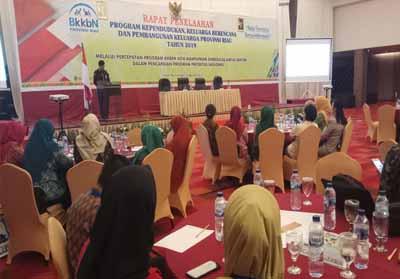 Kepala Perwakilan BKKBN Provinsi Riau, Agus Putro Proklamasi memberikan sambutan saat Rapat Penelaahan Program KKBPK Provinsi Riau Tahun 2019 dengan tema melalui percepatan program KKBPK kita mantapkan sinergitas lintas sektor dalam pencapaian program prioritas nasional.