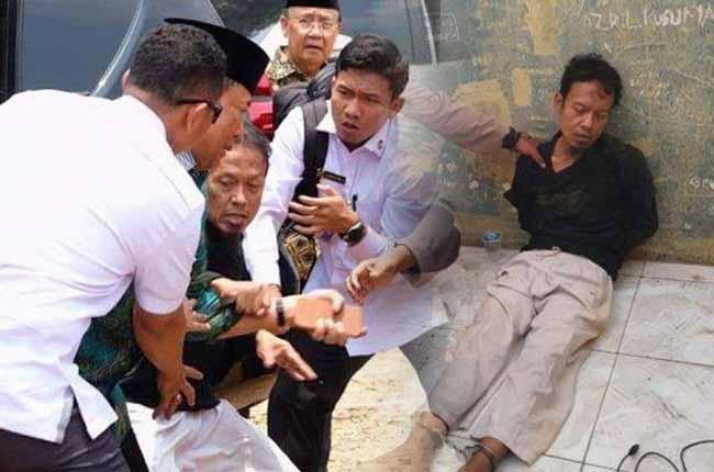 Kolase insiden penusukan Wiranto dengan tersangka pelaku Syahrial Alamsyah alias Abu Rara.