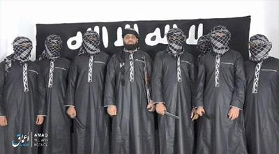 Kantor berita Amaq ISIS merilis gambar pada hari Selasa yang menunjukkan foto para teroris yang melakukan serangan bom di Sri Lanka pekan lalu. FOTO: Daily Mail