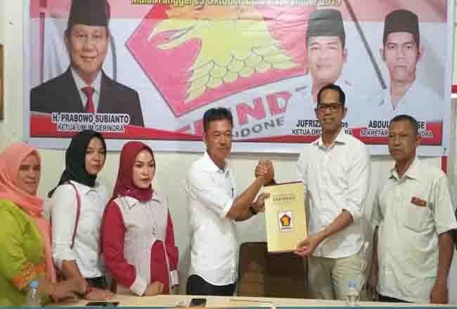 Afrizal SE di kantor Partai Gerindra, Jalan Pahlawan, Bagansiapiapi, Rohil, Selasa (29/10/2019)