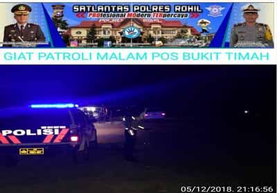 Sat Lantas Polres Rohil rutin melakukan patroli malam
