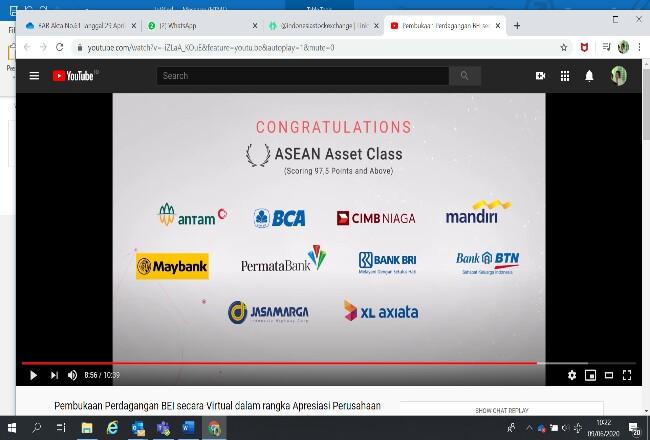 XL Axiata telah dinobatkan sebagai 10 besar Perusahaan Tercatat yang meraih peringkat ASEAN Asset Class tertinggi (nilai 97,5 ke atas) berdasarkan laporan Otoritas Jasa Keuangan (OJK) atas hasil penilaian domestik implementasi ACGS 2019.
