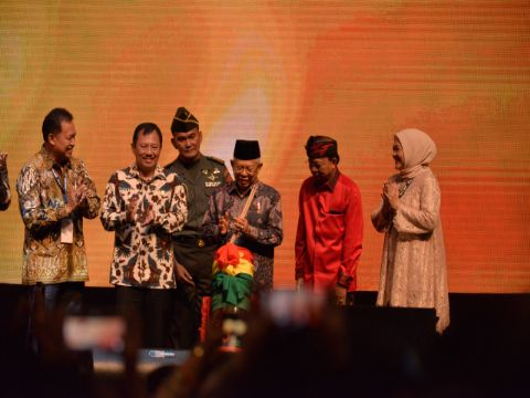 Wapres Maruf Amin meresmikan pembukaan konferensi Indonesian Palm Oil Conference 2019 di Nusa Dua, Bali, Rabu (31/10/2019).