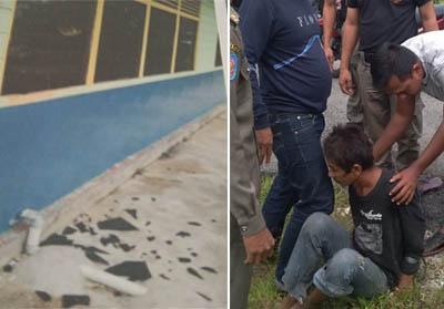 Kolase sekolah yang dirusak dan Orang Dengan Gangguan Jiwa (ODGJ) yang diamankan Satpol PP.