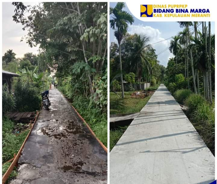 Salah satu ruas jalan yang dibangun dengan sistem swakelola (Foto : Bina Marga Kepulauan Meranti)