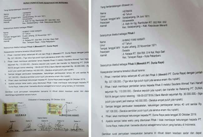 Surat perjanjian antara pihak kesatu dalam hal ini Herman dengan pihak kedua dalam hal ini Ahmad Yani Hanafi yang dibuat pada tanggal 9 Oktober 2019.