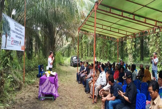 Regional Controller Kebun Rama Bakti PT Buana Wiralestari Mas, Ruslan Hasibuan (berdiri memegang microphone) memberikan sambutan dan apresiasi kepada para petani program Peremajaan Sawit Rakyat atas kerja sama yang terjalin dengan perusahaan.
