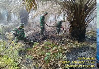 Persenel Koramil 05 Rimba Melintang, Kodim 0321/Rohil lakukan pemadaman di lahan terbakar.