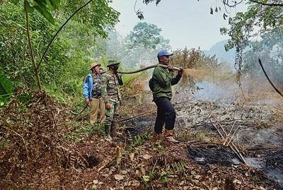 Tim gabungan berjibaku memadamkan kebakaran hutan dan lahan yang terjadi di sejumlah titik di Kabupaten Pelalawan