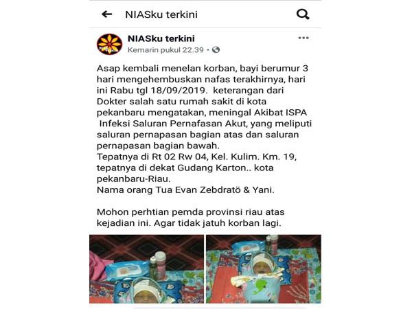 Pesan berantai tentang bayi meninggal dunia di Pekanbaru diduga akibat terpapar kabut asap.
