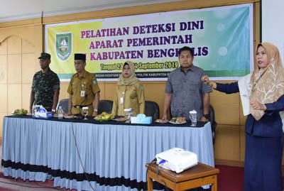 Acara Pelatihan Deteksi Dini Aparat Pemerintah Kabupaten Bengkalis Tahun 2019, di Aula Wisma Kito, Jalan Hangtuah Damon Bengkalis, Senin (23/9/2019).