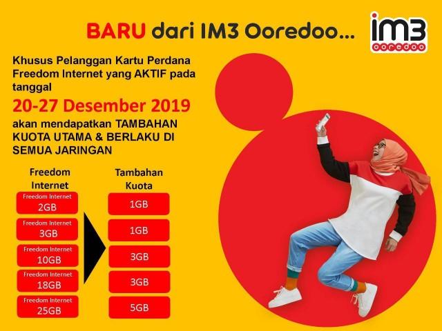 IM3 Ooredoo memberikan tambahan kuota 24 jam di akhir tahun.