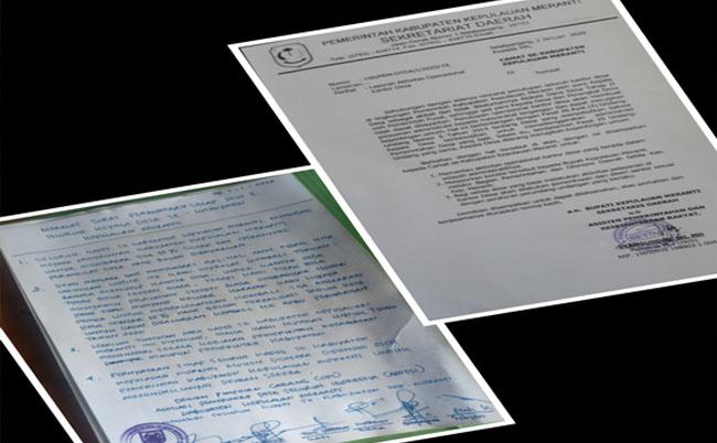 Surat edaran dari Pemkab Kepulauan Meranti dan surat pernyataan sikap dari kepala desa