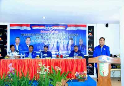 Ketua DPC Partai Demokrat Kuansing Jontikal beri sambutan saat acara Musancab Partai Demokrat.