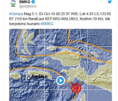 Gempa Kabupaten Kepulauan Aru, Provinsi Maluku.