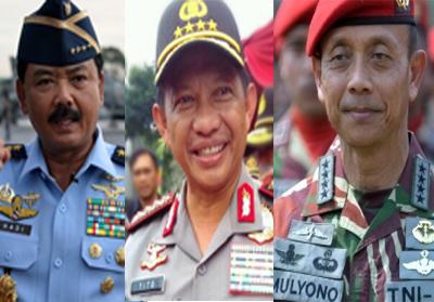 Panglima TNI Marsekal Hadi Tjahjanto, Kapolri Jendral Pol Tito Karnavian, dan Kepala Staf TNI Angkatan Darat (Kasad) Jendral Mulyono.