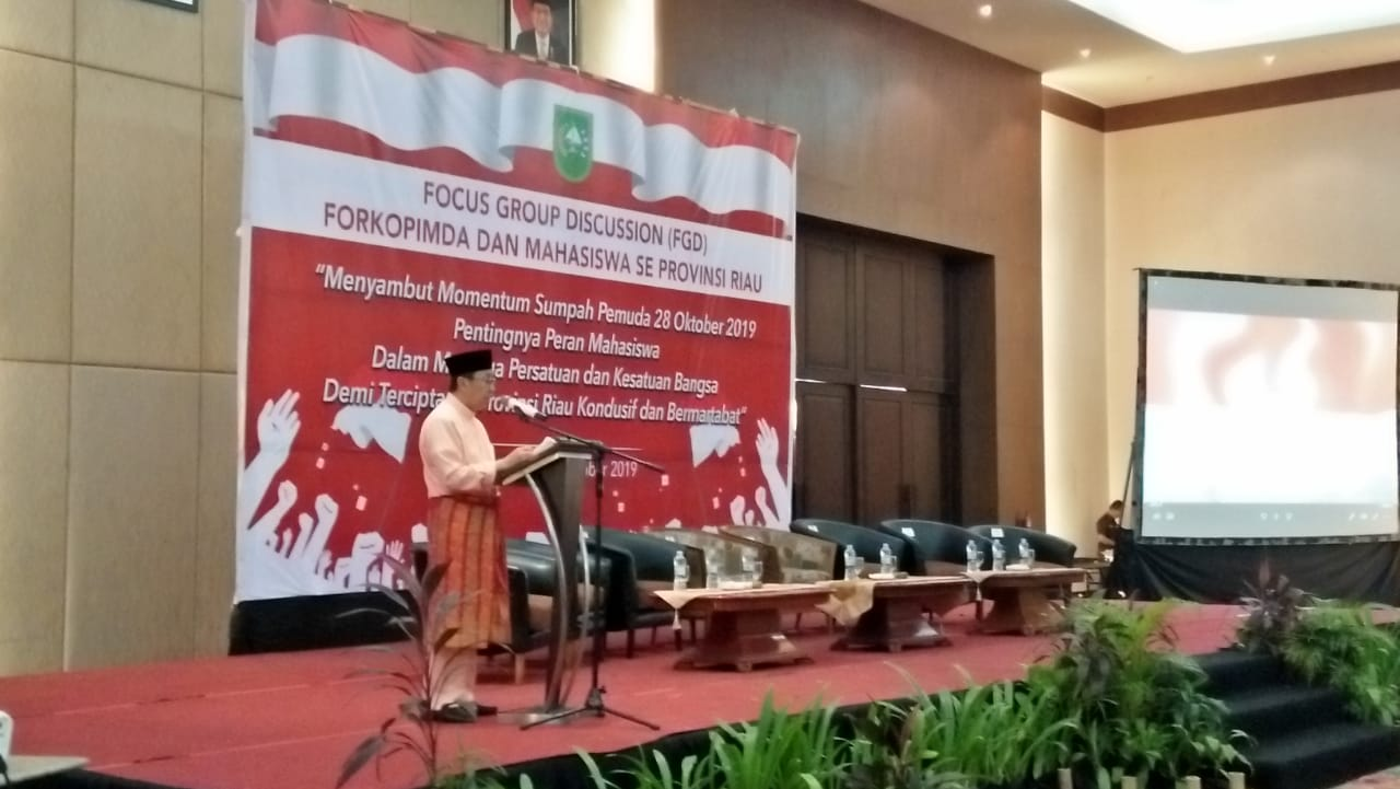 Gubernur Riau Syamsuar saat menyampaikan kata sambutan.