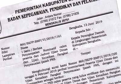 Surat penyampaian nominatif calon peserta dan jadwal ujian dinas dan ujian kenaikan pangkat penyesuaian ijazah PNS.