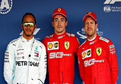Charles Leclerc merebut pole position GP Rusia 2019, mengungguli Lewis Hamilton (kiri) dan rekan setimnya di Ferrari, Sebastian Vettel (kanan). Foto: Detik