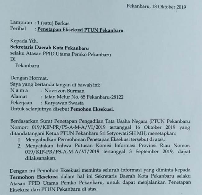 Surat penetapan eksekusi dari PTUN Pekanbaru.