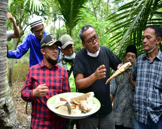 Wakil Bupati Bengkalis, Bagus Santoso bersama pakar lebah dari Magelang Hadi Utomo saat panen madu di Desa Kembung Luar.