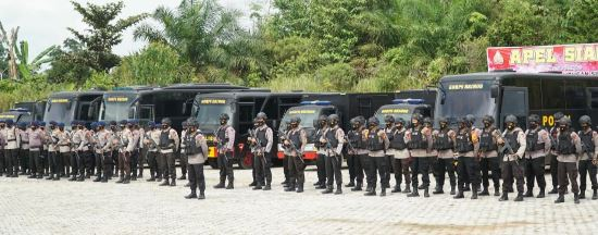101 pesonel BKO Brimob Polda Riau tiba di Rohul.