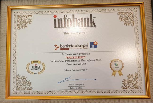 Bank Riau Kepri (BRK) raih predikat excellent dari Infobank.