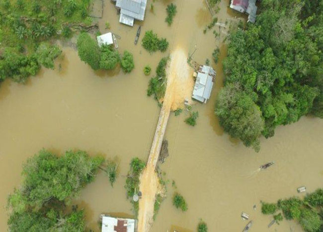 Kondisi banjir di Desa Lubuk Kembang Bunga Kecamatan Ukui Kabupaten Pelalawan pasa Selasa (110/12/2019) lalu. Sebanyak 40 rumah terdampak dan ketinggian air mencapai 2 meter.  FOTO: Tribun.