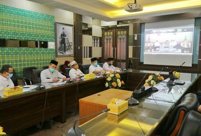 Pj Sekda Siak Jamaludin saat video conference.