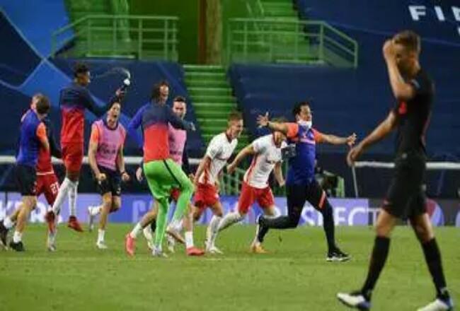 Atletico Madrid kalah dari RB Leipzig dalam pertandingan perempat final Liga Champions di stadion Jose Alvalade di Lisbon, Portugal. Foto: Liputan6