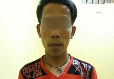 AM (31) warga Desa Tanjung Danau Kecamatan Sungai Lala Kabupaten Inhu diciduk polisi.