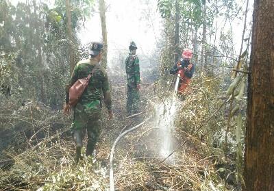 Danramil 07/Kampar dan Tim Subsatgas Karlahut turun memadamkan api.