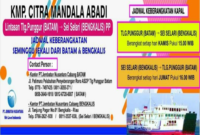 Jadwal keberangkatan KMP Roro Batam - Sei Pakning.