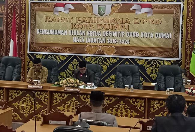 Paripurna DPRD Dumai penentuan Pimpinan DPRD Kota Dumai periode 2019 - 2024.