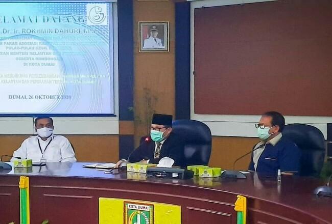 Wako Dumai H Zulkifli As memaparkan rencana dijadikannya Kecamatan Sungai Sembilan sebagai kawasanMinapolitan.