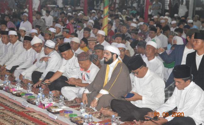 Tabligh Akhbar memperingati Isra Miraj Nabi Muhammad SAW tahun 1441 H /2020 M digelar di depan kantor BPKAD, Jalan Merdeka, Bagansiapiapi