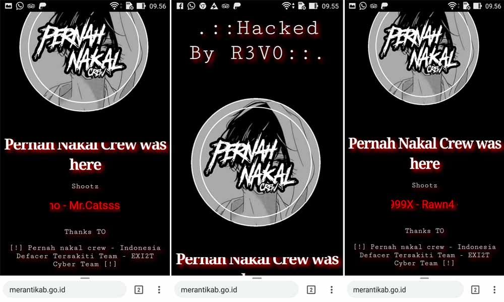 Tampilan website resmi Pemkab Meranti di www.merantikab.go.id yang diretas hacker.
