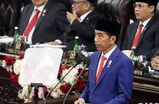 Jokowi saat Pidato Nota Keuangan. FOTO: Okezone