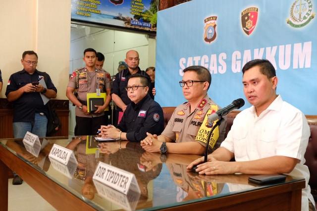 Jumpa pers terkait penegakan hukum kasus Karhutla di Riau.
