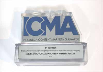 Suzuki Raih 3rd Best Influencer Marketing di ICMA 2019.