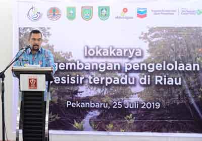 Wakil Gubernur Riau Edy Natar Nasution saat menyampaikan sambutan pada acara Lokakarya Pengembangan Pengelolaan Pesisir terpadu di Riau.