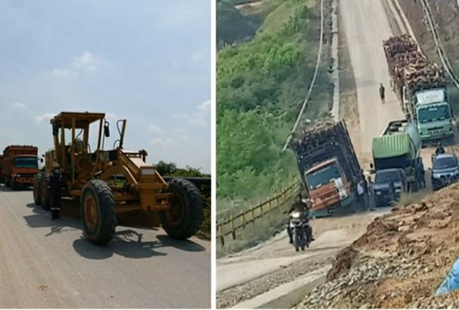 Antrean kendaraan bertonase besar di jalan Desa Bonai, Rohul, (foto kiri) dan Dusun Tegar, Bengkalis, yang melebihi kemampuan daya dukung jalan di area tersebut yang sebenarnya didesain hanya sebagai jalan pendukung operasional migas.