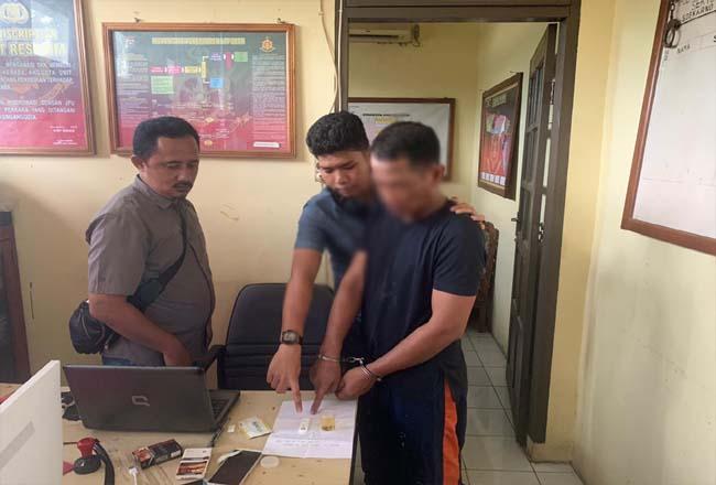 Tersangka security Kantor Camat Bantan.