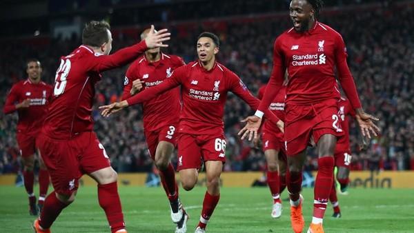 Liverpool menang 4-0 atas Barcelona dan melenggang ke final Liga Champions. FOTO: Clive Brunskill/Getty Images