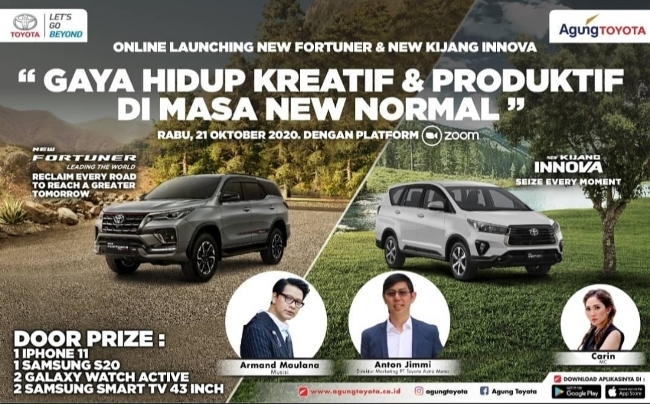 Jangan lupa ikuti online launching New Fortuner dan New Kijang Innova