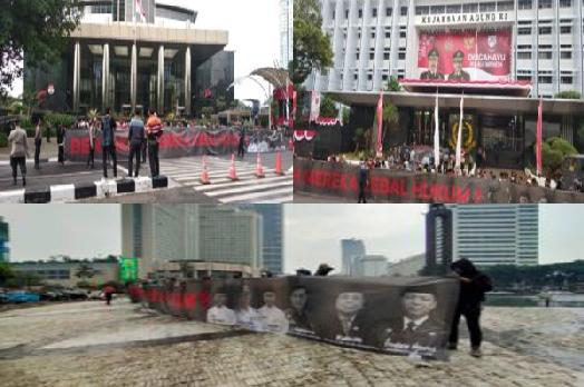 Massa Forum Mahasiswa Nusantara (FKMN) saat menggelar aksi demo di Bundaran HI Jakarta, Gedung Kantor Kejagung dan KPK RI pada Rabu (5/8/2020).