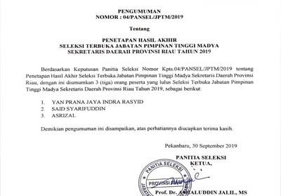 Surat pengumuman 3 calon Sekdaprov Riau.