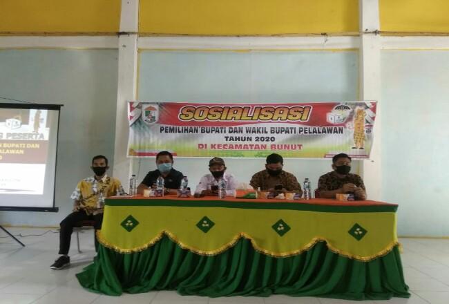 Sosialisasi pemilihan Bupati dan Wakil Bupati Pelalawan Tahun 2020 di Kecamatan Bunut di gedung serbaguna Kelurahan Pangkalan Bunut, Kamis kemarin (16/7/2020).