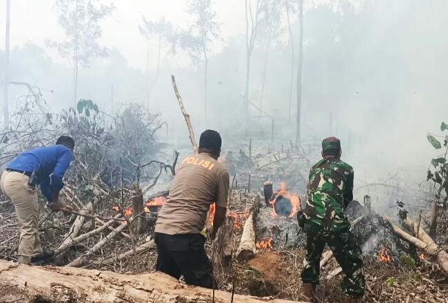 Personel TNI, Polri dan Damkar saat upaya memadamkan api yang membakar kebun warga, diduga sengaja dibakar di kawasan Desa Sukamaju, Kecamatan Rambah.